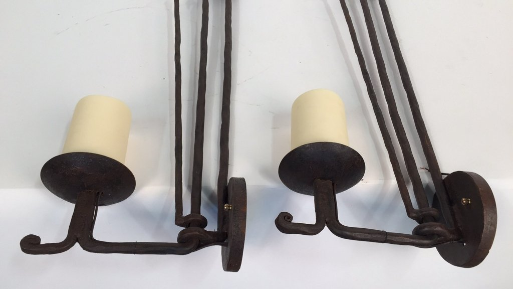 Wrought Iron Rustic Candlestick Sconces - 3