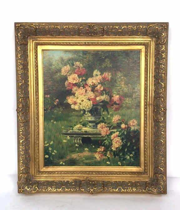 Gold Framed Lavish Garden Floral Canvas