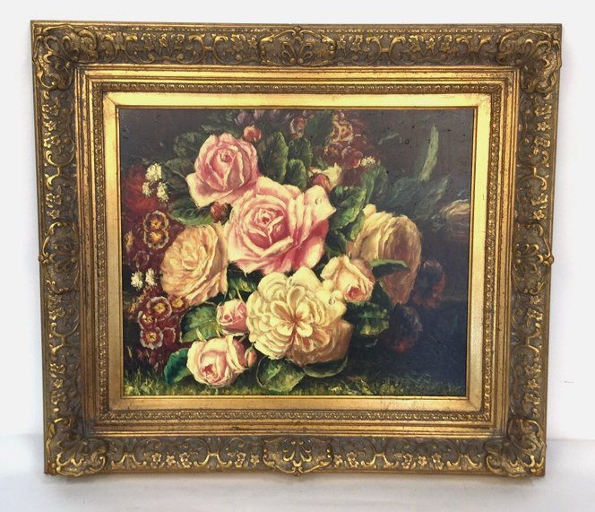 Gold Framed Floral Arrangement Painted Canvas
