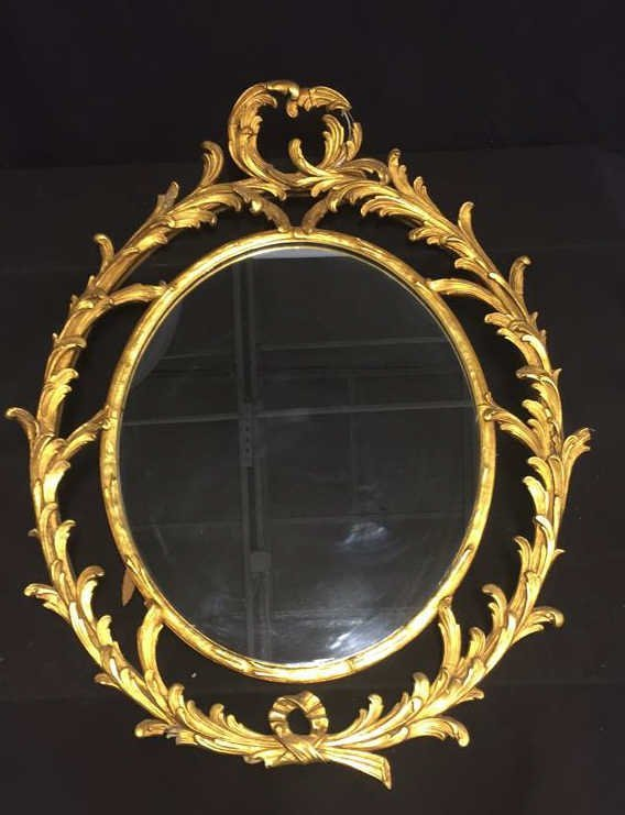 ANTIQUE Gold Leaf Feathered Wood Framed Mirror