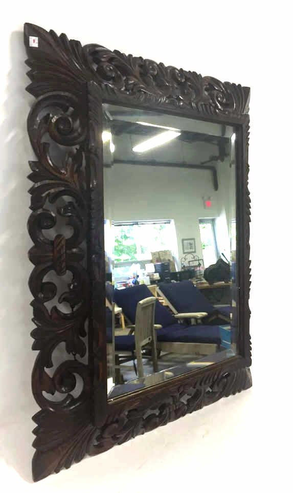Mahogany Carved Wood Bevelled Mirror