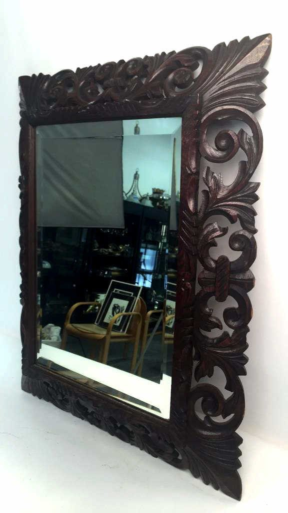 Mahogany Carved Wood Bevelled Mirror - 4
