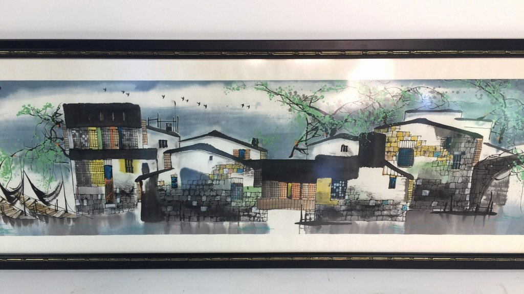 Signed Asian Lithograph Village View from Water