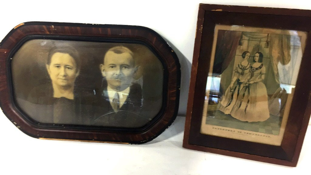 Antique Familial Ancestors Portrait & Litho