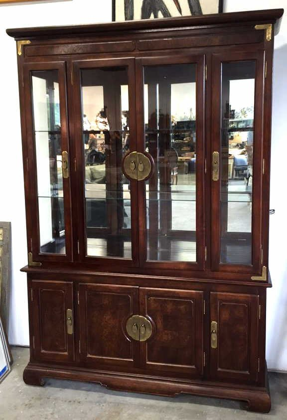 China Cabinet with Brushed Brass Hardware