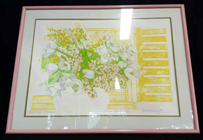 Illegible Signed Hand Colored Floral