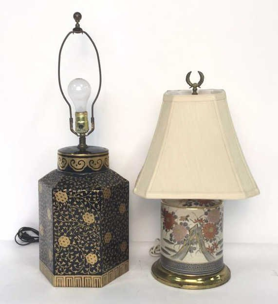 2 Gold Painted Vintage Lamps