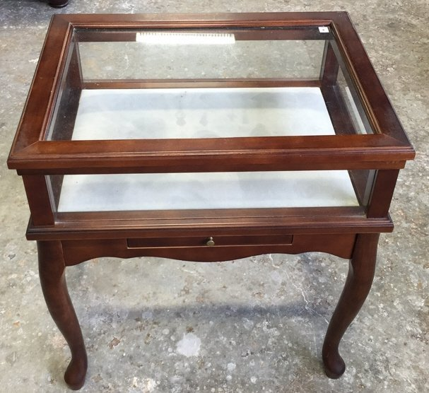 Glass Display Case End Table with Drawer