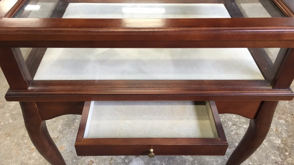 Glass Display Case End Table with Drawer - 2