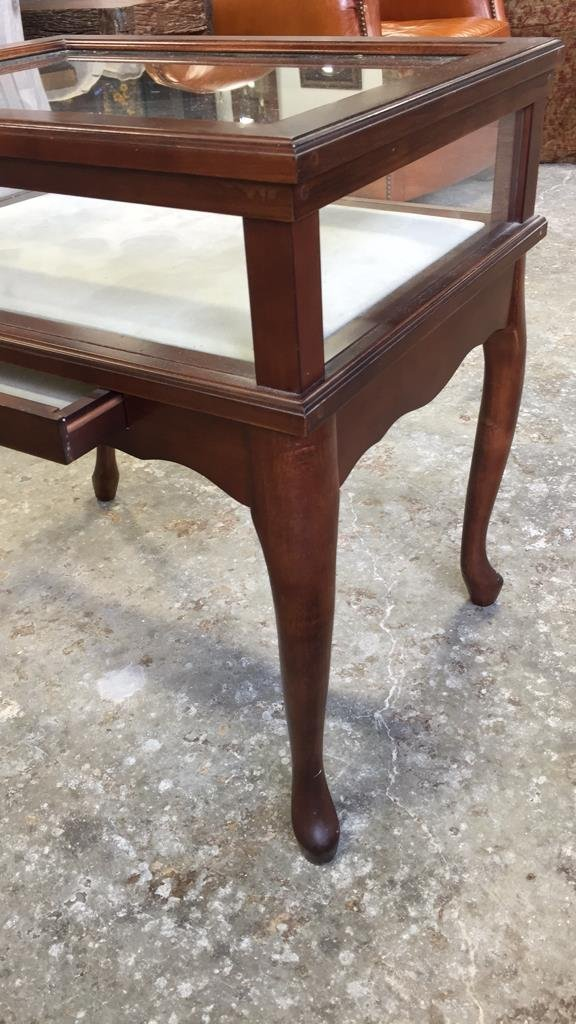 Glass Display Case End Table with Drawer - 3