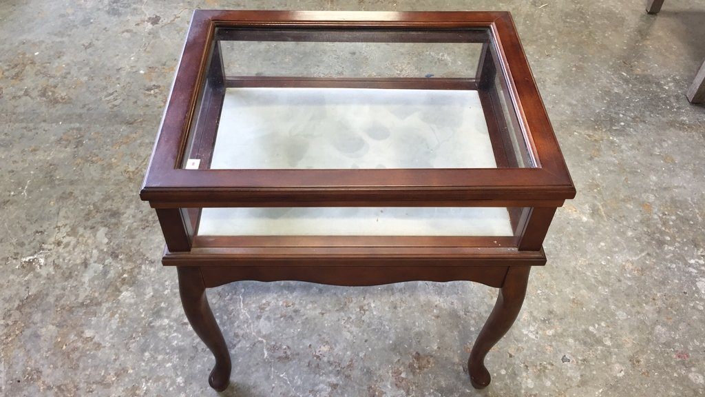 Glass Display Case End Table with Drawer - 4