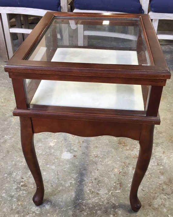 Glass Display Case End Table with Drawer - 5