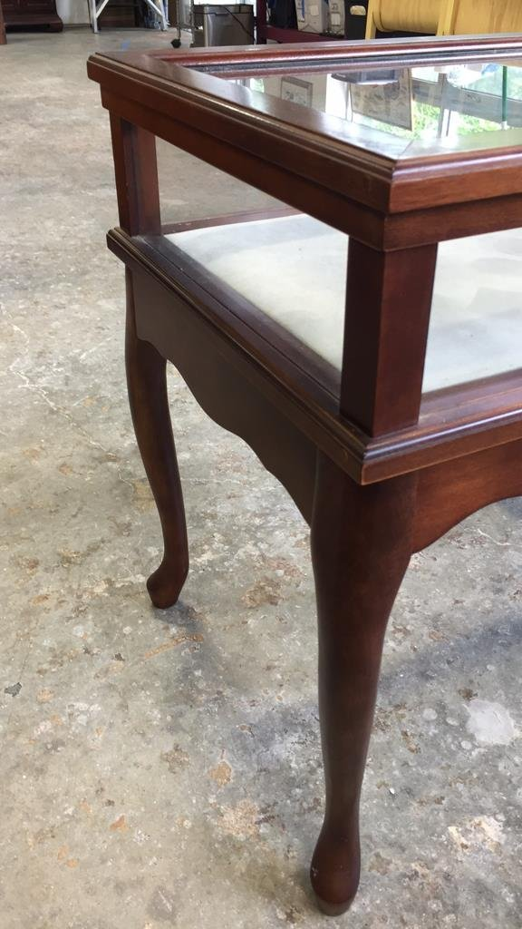 Glass Display Case End Table with Drawer - 6