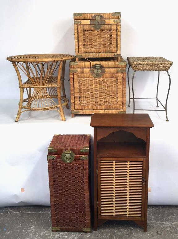 Group Lot 6 Woven Style Side Tables