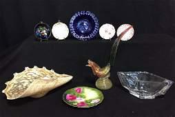 Group Lot Misc Art Glass  Porcelain Saucers