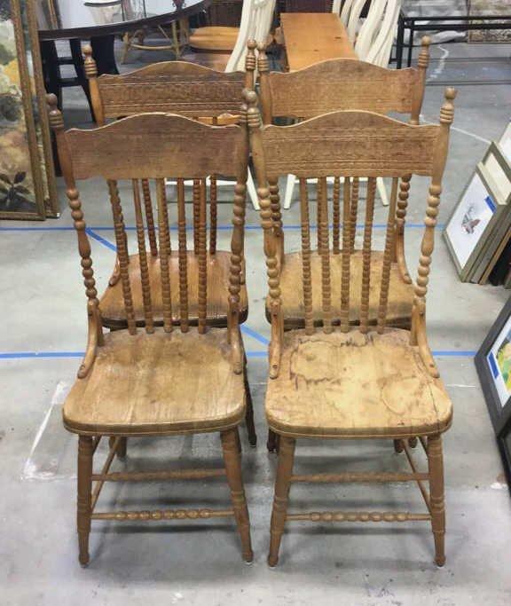 Set 4 Vintage Wood Chairs
