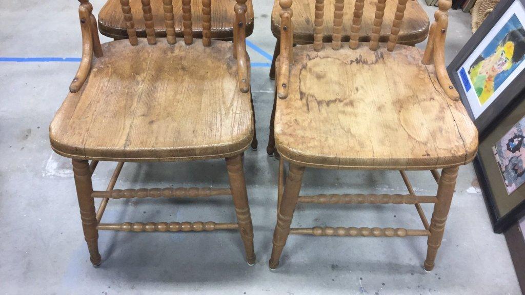 Set 4 Vintage Wood Chairs - 2