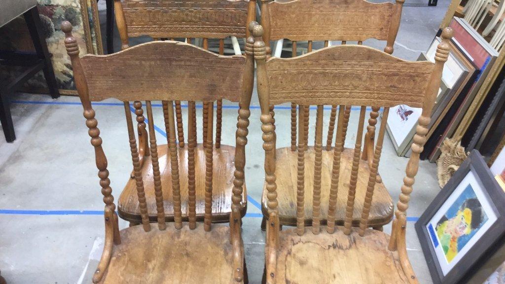 Set 4 Vintage Wood Chairs - 3