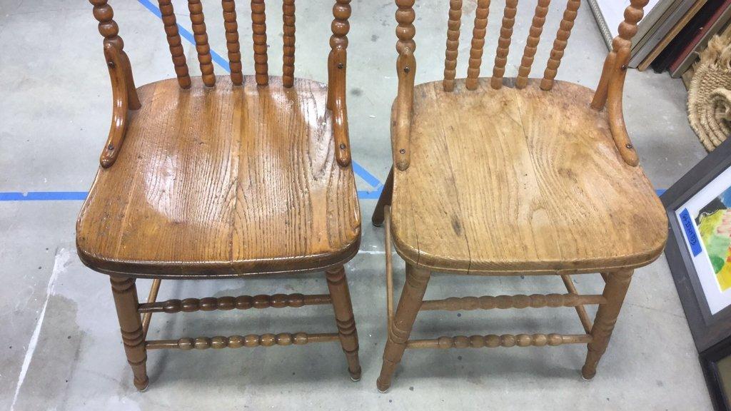 Set 4 Vintage Wood Chairs - 4