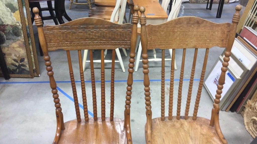 Set 4 Vintage Wood Chairs - 5