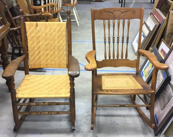 2 Vintage Wood & Cane & Palm Rocking Chairs