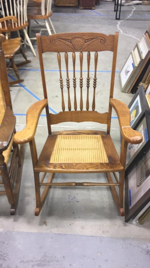 2 Vintage Wood & Cane & Palm Rocking Chairs - 2