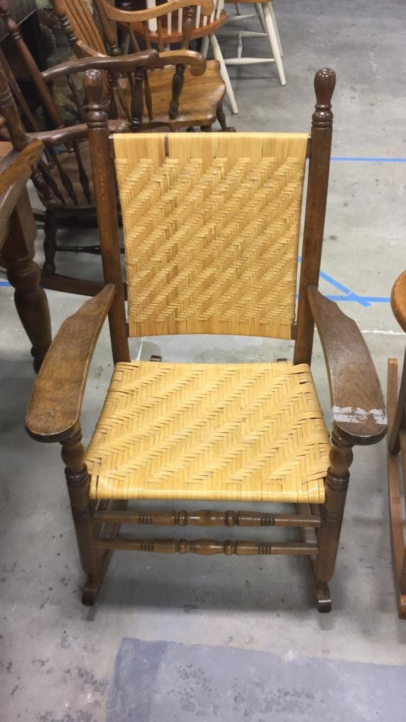 2 Vintage Wood & Cane & Palm Rocking Chairs - 3