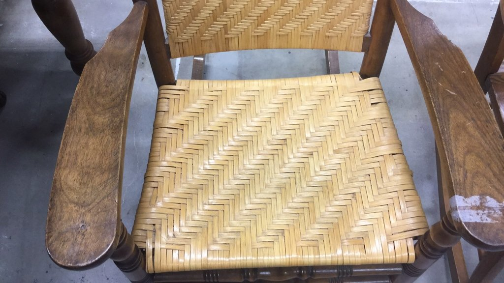 2 Vintage Wood & Cane & Palm Rocking Chairs - 5
