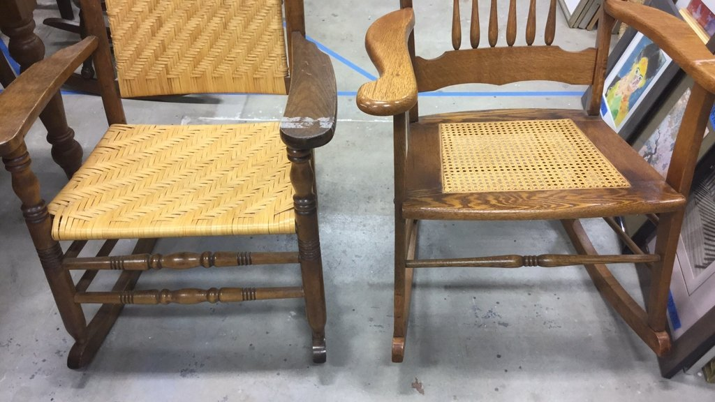 2 Vintage Wood & Cane & Palm Rocking Chairs - 8