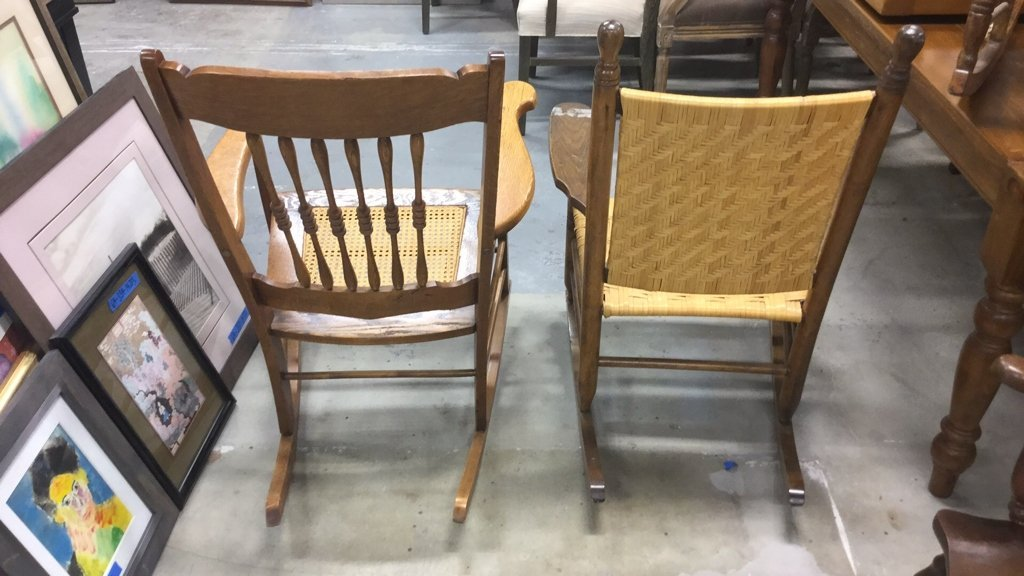 2 Vintage Wood & Cane & Palm Rocking Chairs - 9