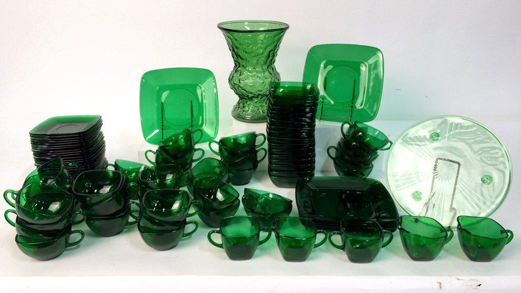 Partial Green Glass Dish Set