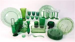 Group Lot Green Glass Platters and Crystal