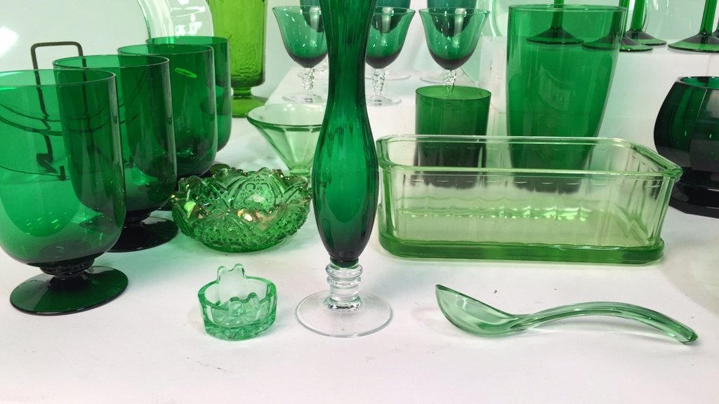 Group Lot Green Glass Platters and Crystal - 2