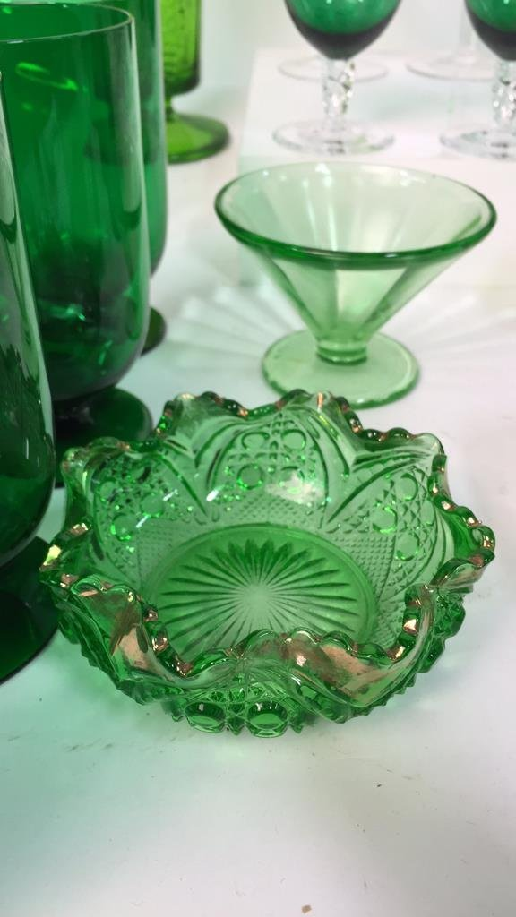 Group Lot Green Glass Platters and Crystal - 3