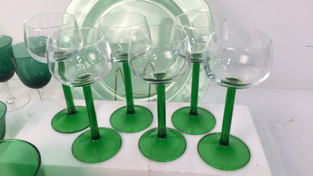 Group Lot Green Glass Platters and Crystal - 4