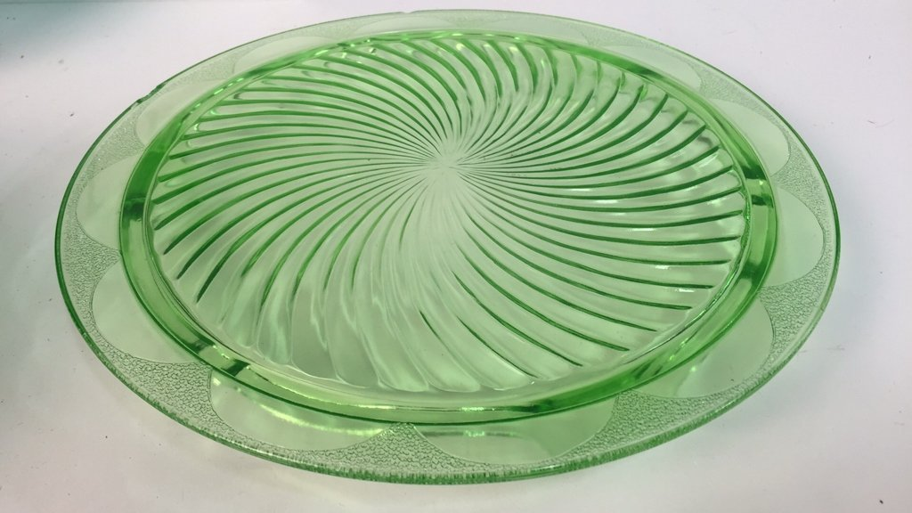 Group Lot Green Glass Platters and Crystal - 6