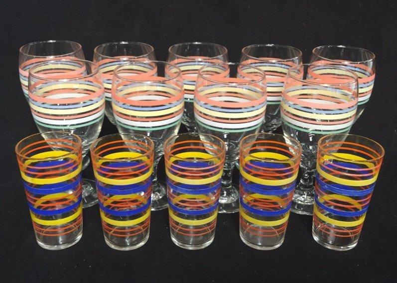 14 Piece Striped Vintage Glasses