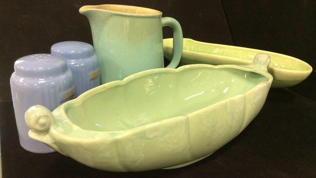 Group vintage glazed pottery