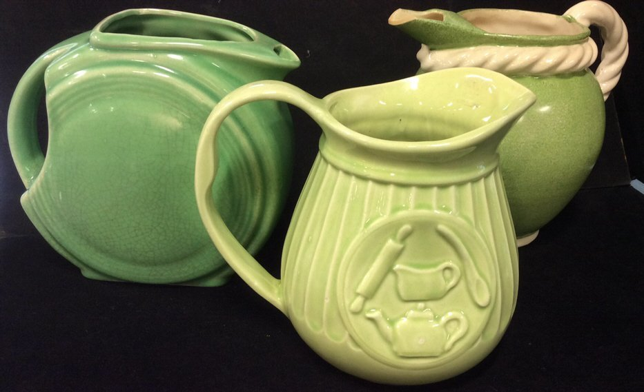 3 Vintage Green Pitchers