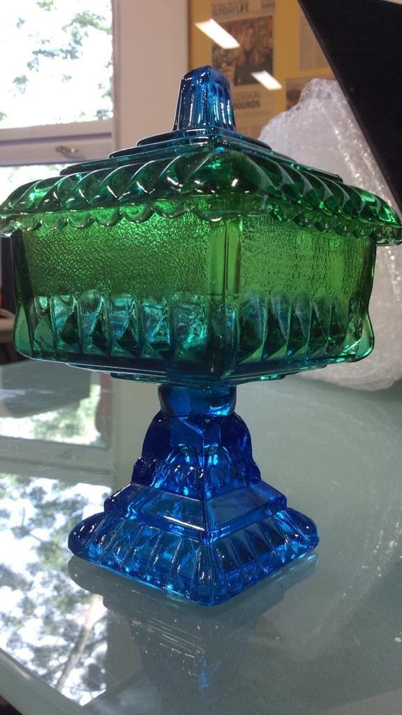 3 vintage colored glass pieces - 5