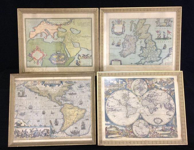 4 Anyique Framed Maps