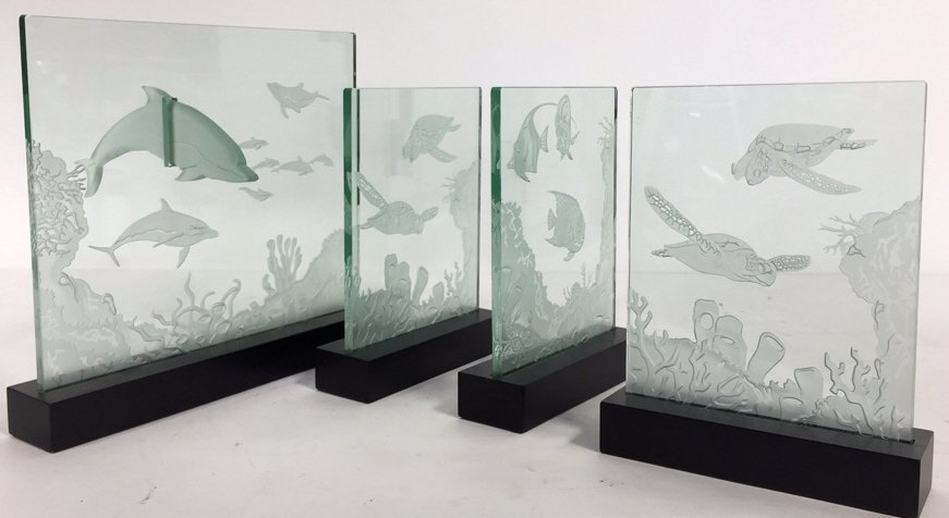 Group Lot Undersea Life Etched Glass Panels