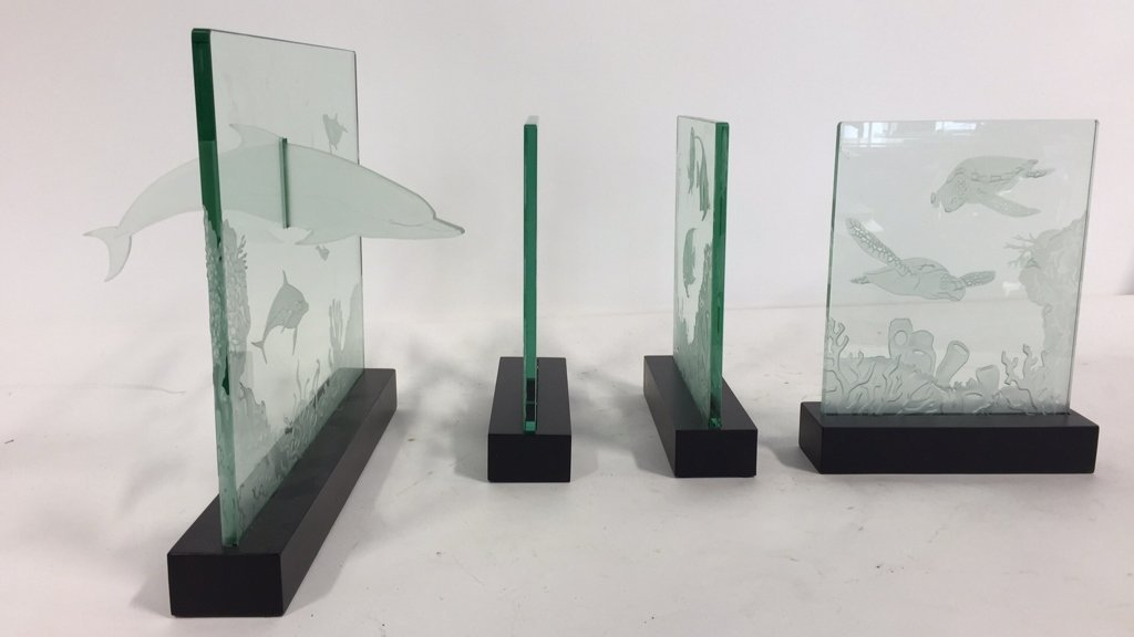 Group Lot Undersea Life Etched Glass Panels - 2