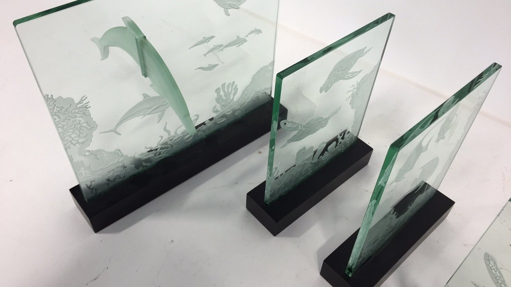 Group Lot Undersea Life Etched Glass Panels - 3