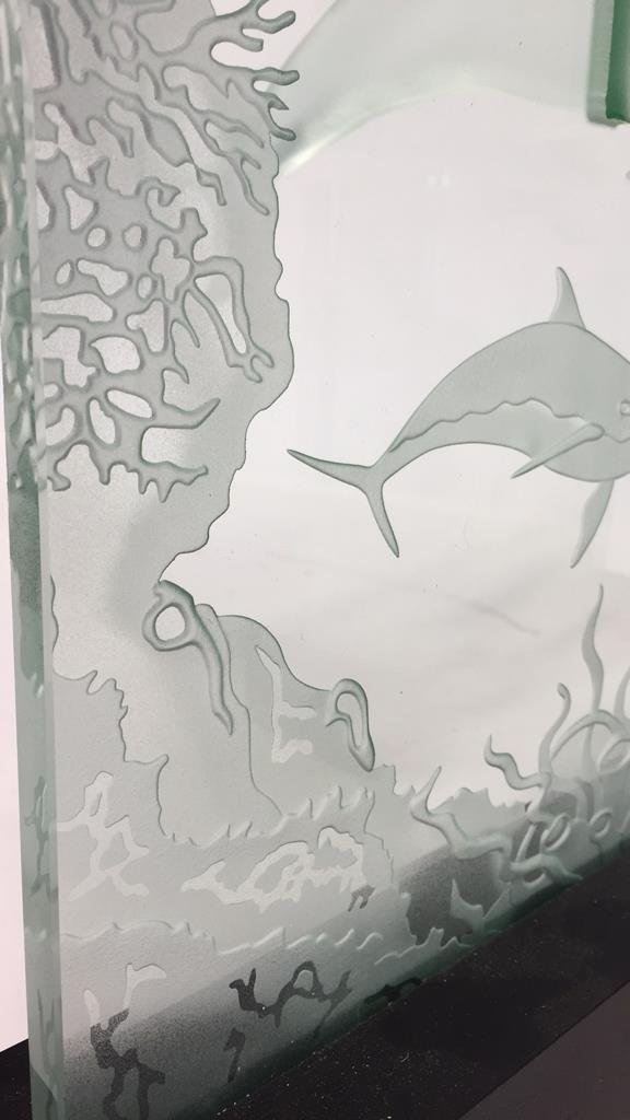 Group Lot Undersea Life Etched Glass Panels - 4