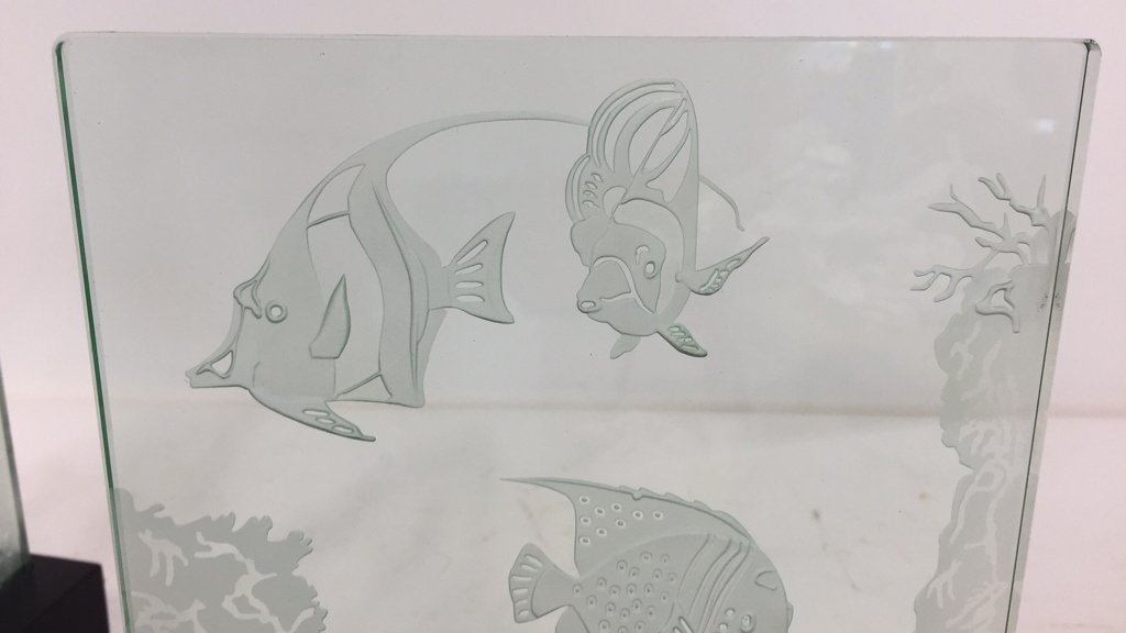 Group Lot Undersea Life Etched Glass Panels - 6