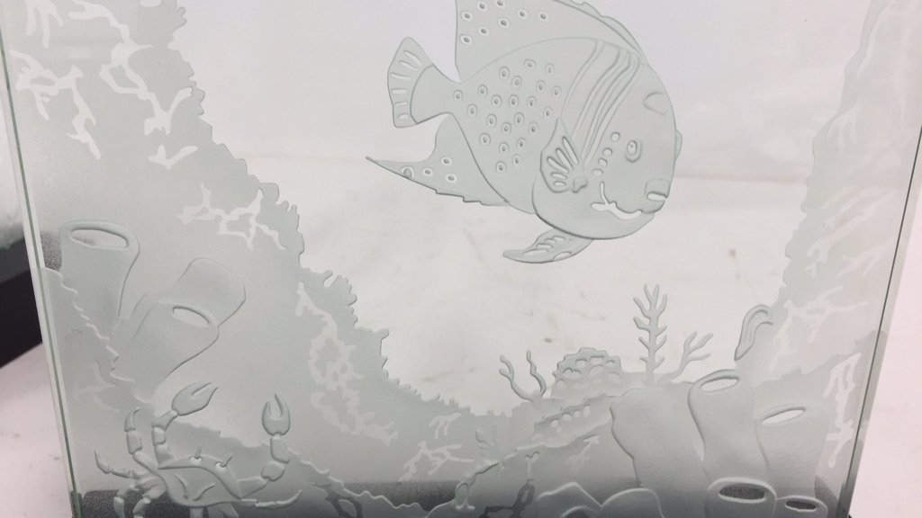 Group Lot Undersea Life Etched Glass Panels - 7