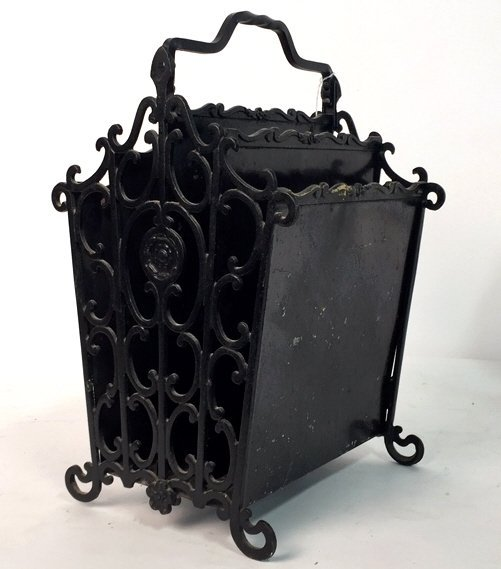 Antique Wrought Iron Metal Magazine Rack