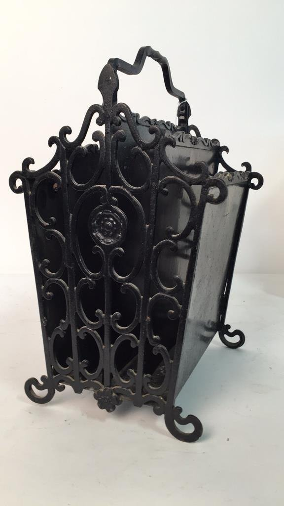 Antique Wrought Iron Metal Magazine Rack - 2