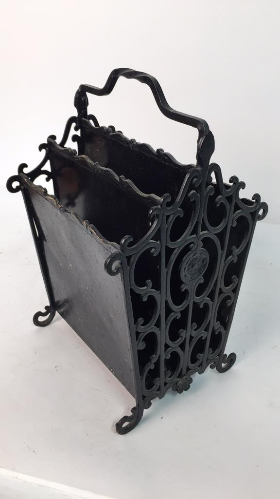 Antique Wrought Iron Metal Magazine Rack - 5